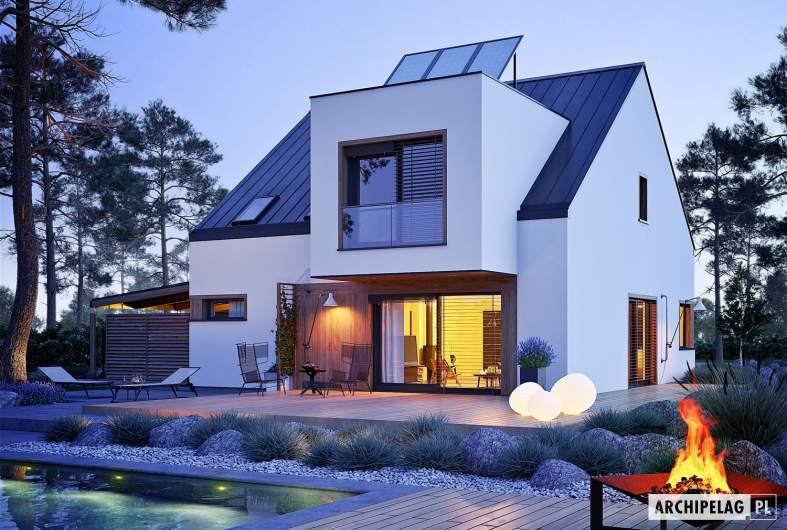 Projekt domu Neli W2 ENERGO PLUS - wizualizacja ogrodowa nocna