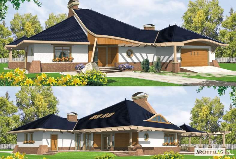Projekt domu Zbigniew G2 - wizualizacja frontowa i ogrodowa