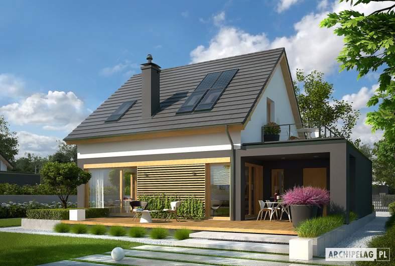Projekt domu E14 G1 ECONOMIC - wizualizacja ogrodowa