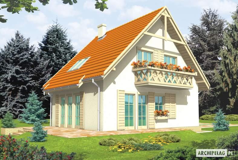 Projekt domu Śnieżynka G1 - wizualizacja ogrodowa