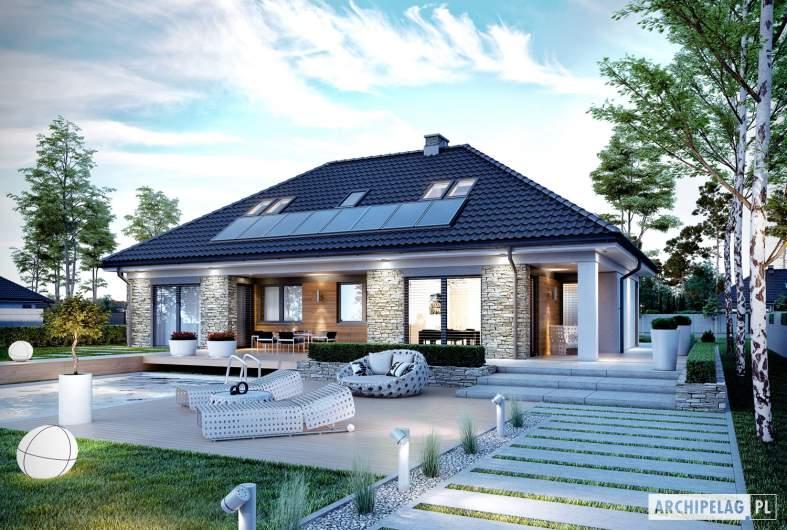 Projekt domu Magnus II G2 - Projekty domów ARCHIPELAG - Magnus II G2 - wizualizacja ogrodowa nocna