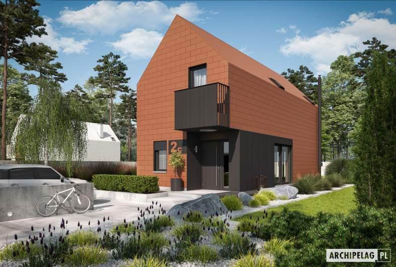 Projekt domu Moniczka II (wersja C) - wizualizacja frontowa