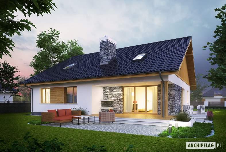 Projekt domu Klementynka II G1 - wizualizacja ogrodowa nocna