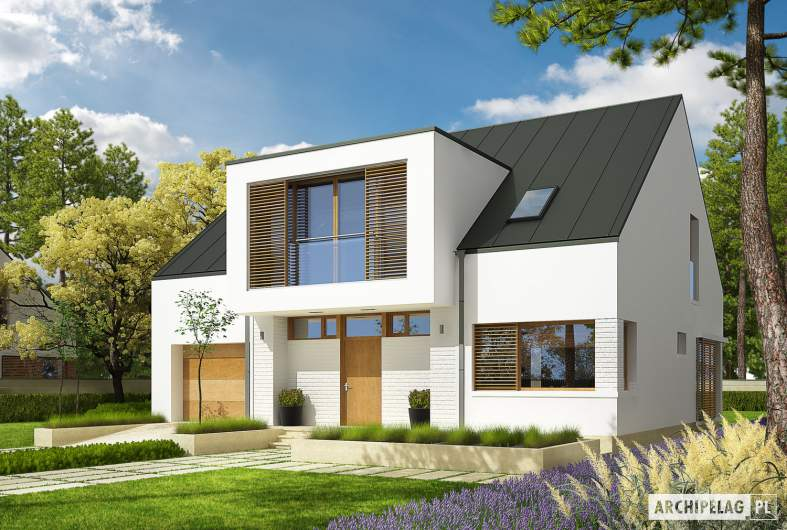Projekt domu EX 9 G1 (wersja B) - wizualizacja frontowa