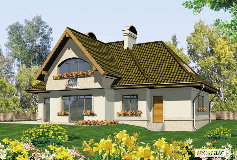Projekt domu Amelia G1 - wizualizacja ogrodowa