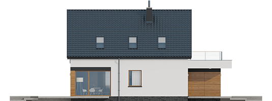 Е13 (Г1, Економ) - Projekt domu E13 G1 ECONOMIC - elewacja lewa