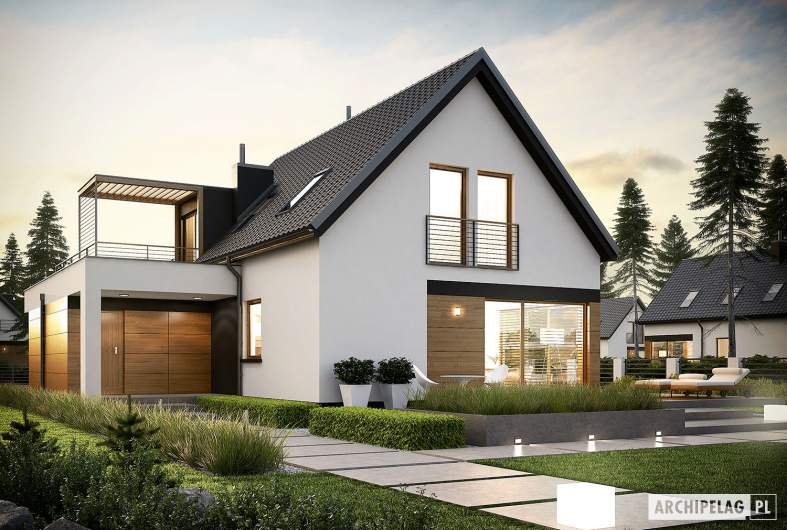 Projekt domu E13 G1 ECONOMIC - wizualizacja ogrodowa nocna