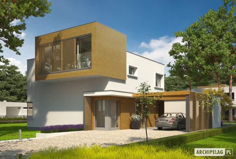 Projekt domu EX 10 II (z wiatą) soft - wizualizacja frontowa