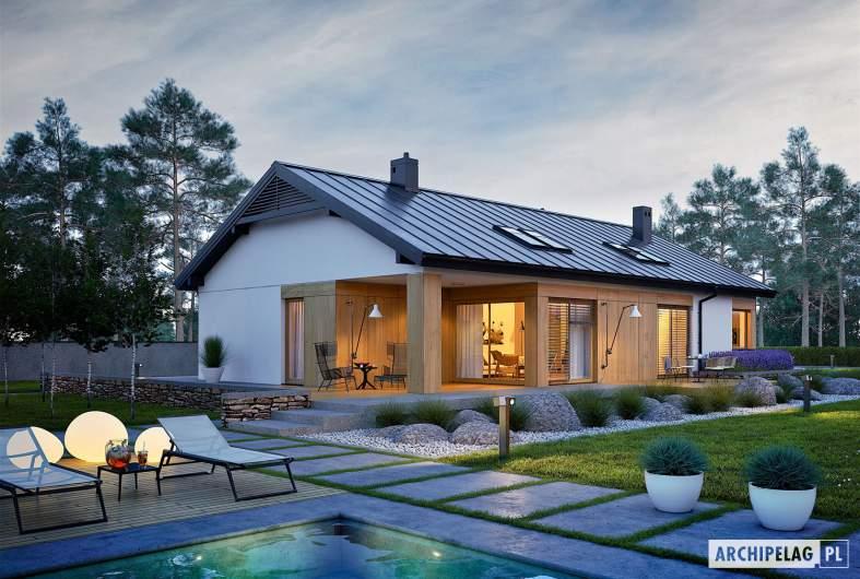 Projekt domu Daniel III G2 - wizualizacja ogrodowa nocna