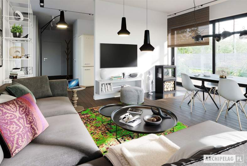 Projekt domu Moniczka III ENERGO PLUS reco - wizualizacja salonu
