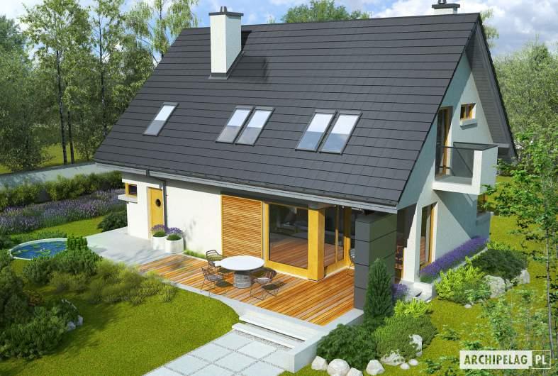 Projekt domu Tolek G1 - wizualizacja ogrodowa widok z góry