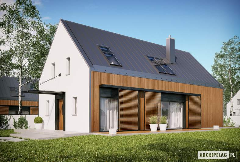Projekt domu EX 14 soft - wizualizacja frontowa
