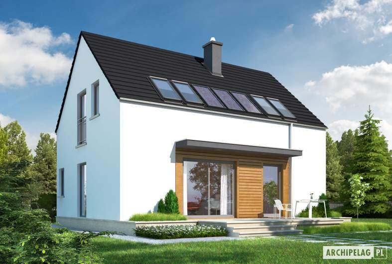 Projekt domu E1 ECONOMIC (wersja A) - wizualizacja ogrodowa_lewa