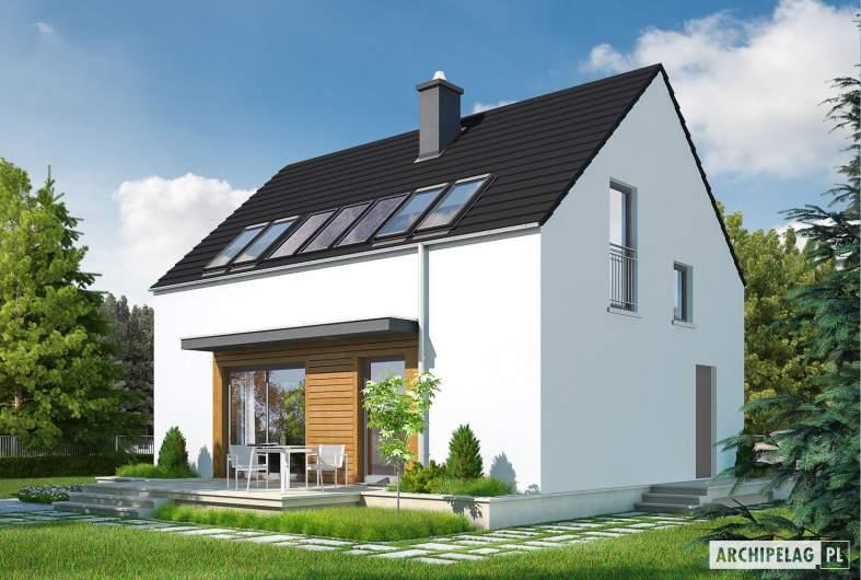 Projekt domu E1 ECONOMIC (wersja A) - wizualizacja ogrodowa