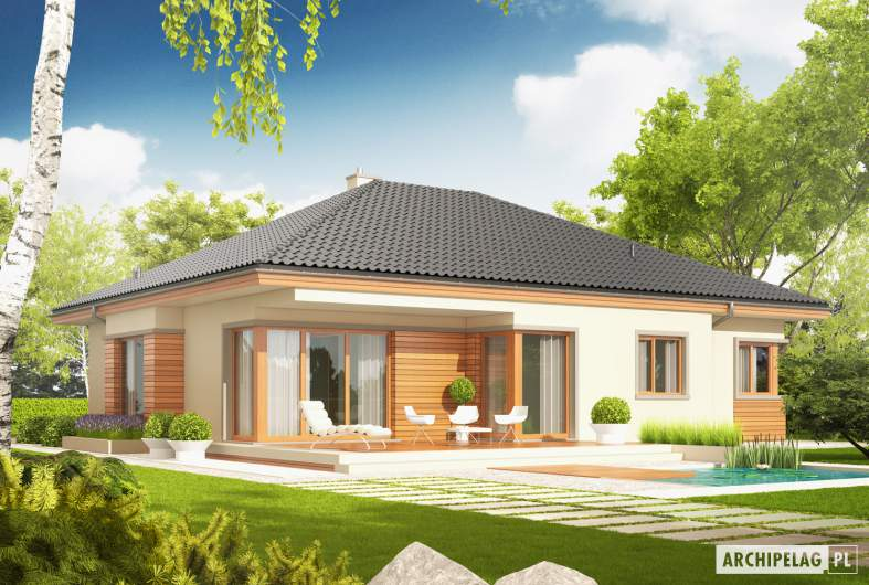 Projekt domu Eris G2 (wersja C) MULTI-COMFORT - wizualizacja ogrodowa
