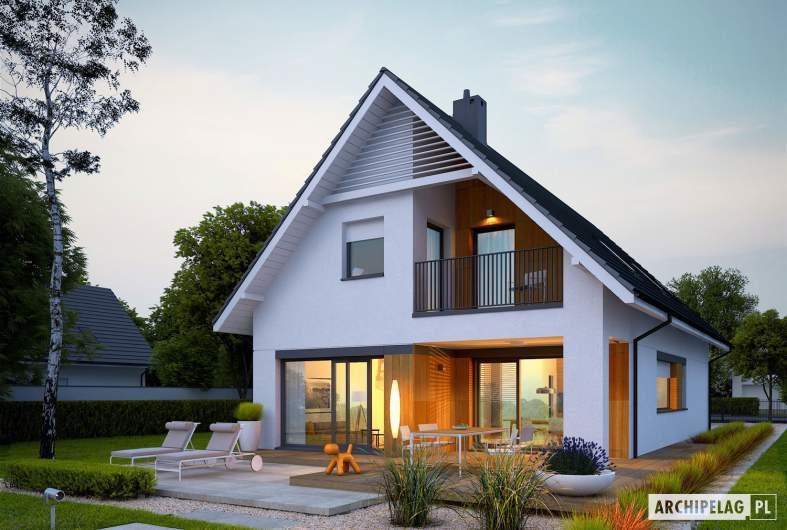Projekt domu Riko G1 - Projekty domów ARCHIPELAG - Riko G1 - wizualizacja ogrodowa nocna
