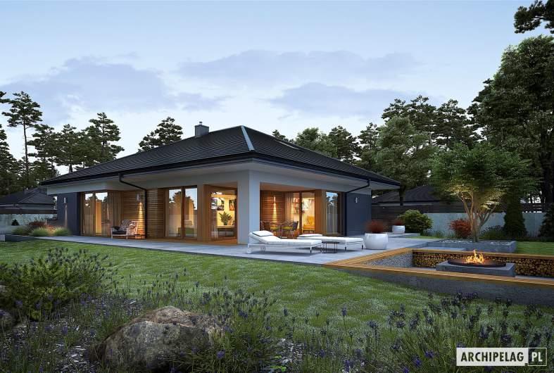 Projekt domu Tanita G2 - wizualizacja ogrodowa nocna
