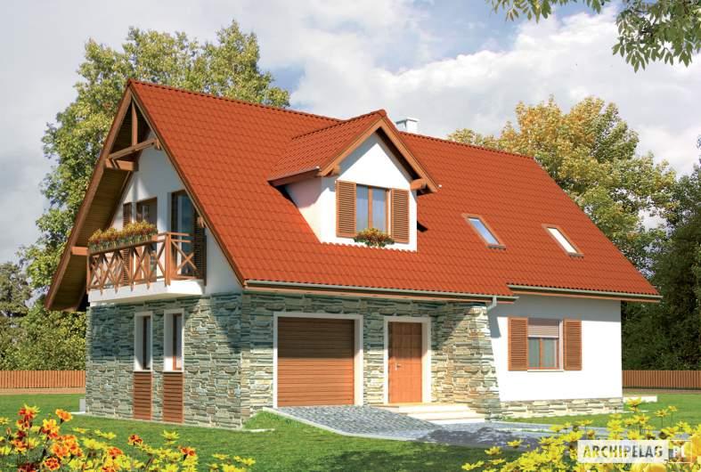 Projekt domu Anulka II G1 - wizualizacja frontowa lewa