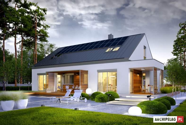 Projekt domu Magnus G2 ENERGO PLUS - wizualizacja ogrodowa nocna