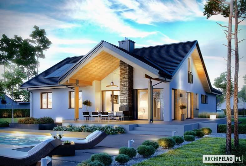 Projekt domu Simon G2 - wizualizacja ogrodowa nocna