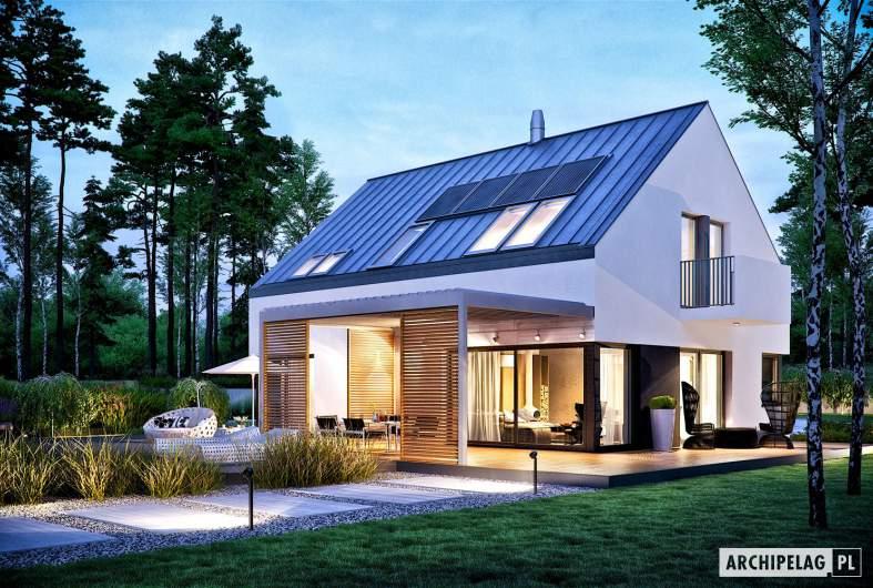 Projekt domu Nils II G2 ENERGO PLUS - wizualizacja ogrodowa nocna