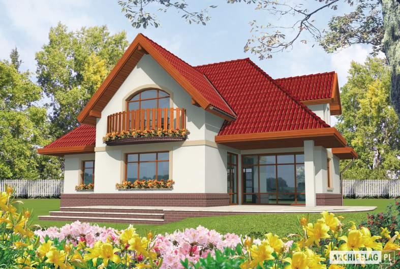 Projekt domu Ofelia G1 - wizualizacja ogrodowa