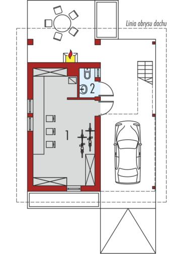 Budynek gospodarczy G35 (z wiatą): Parter